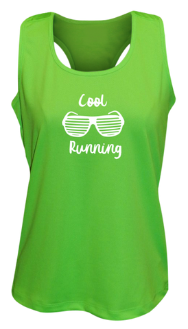 WOMEN'S REFLECTIVE TANK TOP – COOL RUNNING - Front - Neon Green