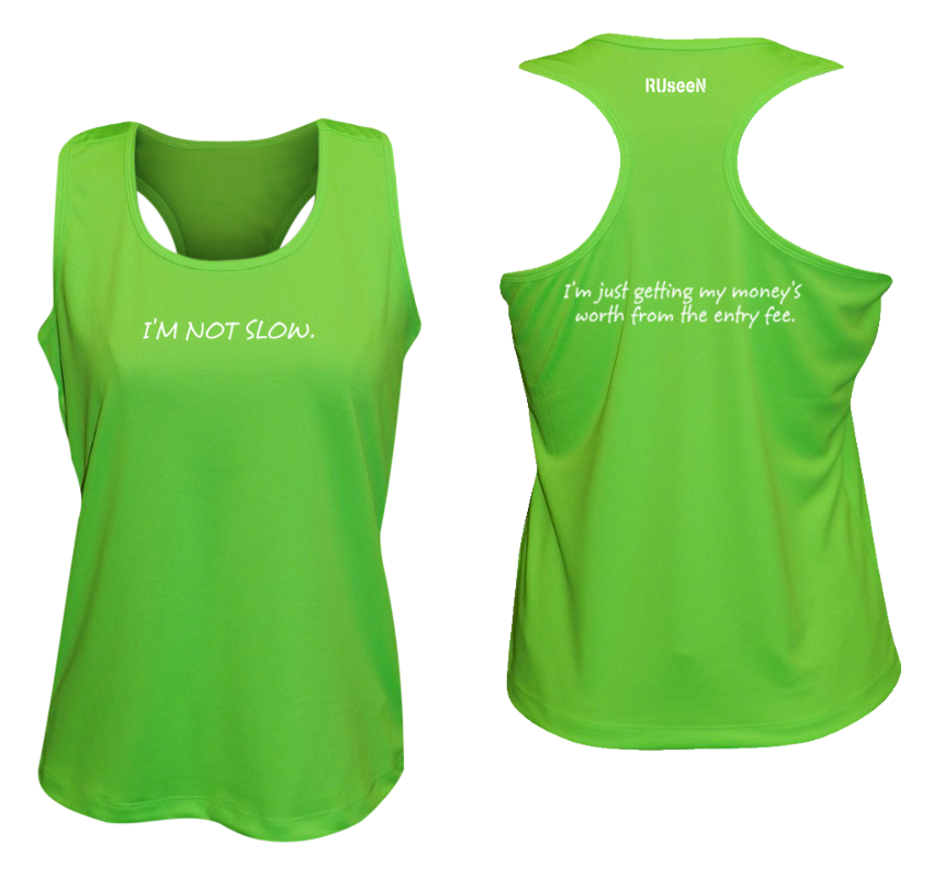 WOMEN'S REFLECTIVE TANK TOP – GETTING MY MONEY'S WORTH – Front & Back – Neon Green