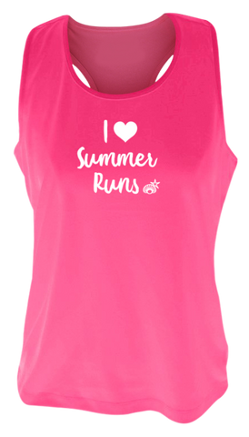 WOMEN'S REFLECTIVE TANK TOP – I LOVE SUMMER RUNS - Front - Neon Pink