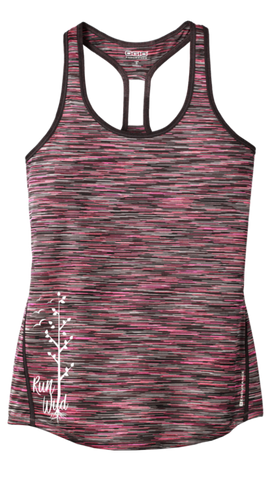 Women's Reflective Tank Top - Run Wild - Coral Space Dye front