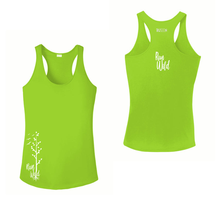 Women's Reflective Tank Top - Run Wild - Lime Green