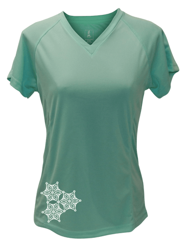 WOMEN'S REFLECTIVE SHORT SLEEVE SHIRT – SAND DOLLAR - Front - Sea Green
