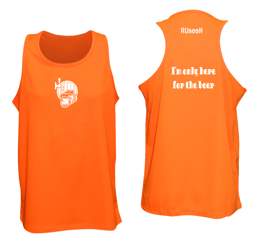 Men's Reflective Tank Top Shirt - I'm Only Here For The Beer - Front & Back - Orange