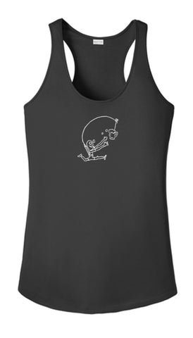 WOMEN'S REFLECTIVE TANK TOP SHIRT –  DRINKER WITH A RUNNING PROBLEM - Front - Black
