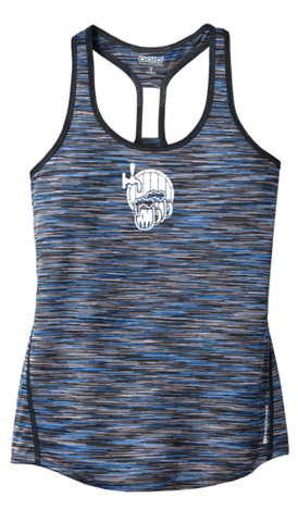 Women's Reflective Tank Top - I'm Only Here For The Beer - Front - Blue Space Dye