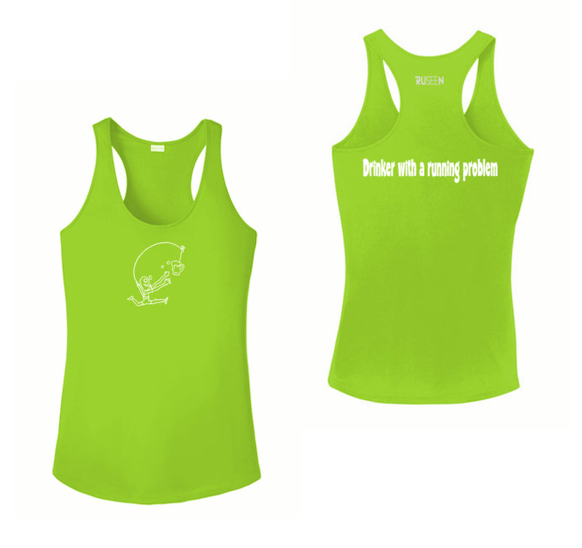 WOMEN'S REFLECTIVE TANK TOP SHIRT –  DRINKER WITH A RUNNING PROBLEM - Front & Back –  Lime Green