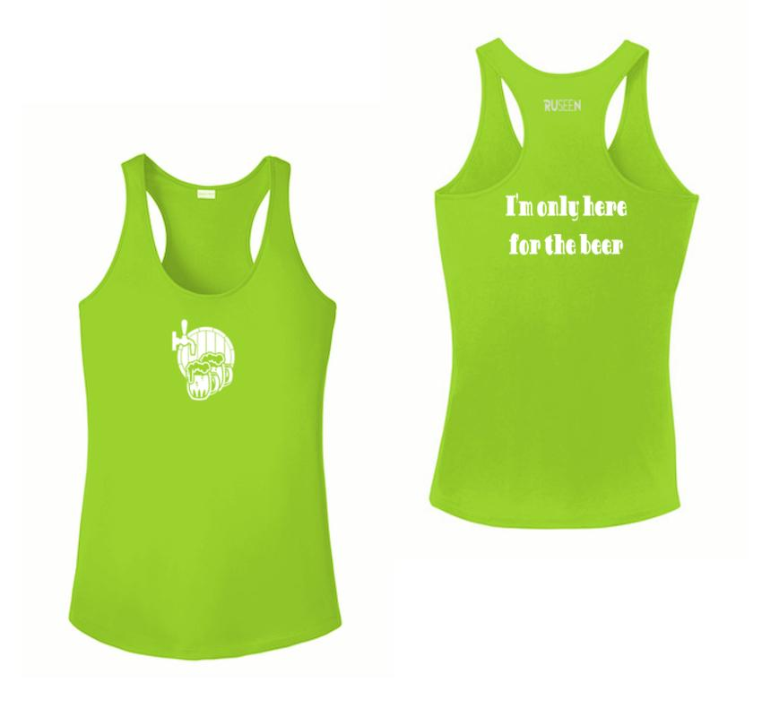 Women's Reflective Tank Top - I'm Only Here For The Beer - Front & Back - Lime Green