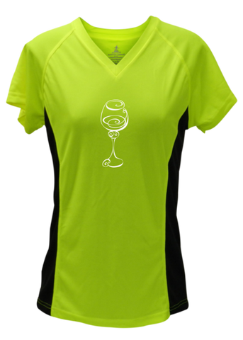 WOMEN'S REFLECTIVE SHORT SLEEVE SHIRT –  BETTER BE WINE - Front - Lime with Black Sides