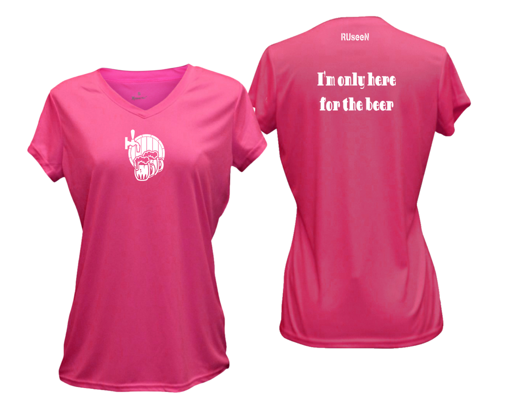 Women's Reflective Short Sleeve Shirt - I'm Only Here For The Beer - Front & Back - Neon Pink