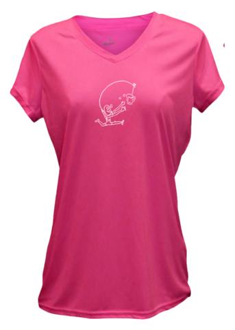 WOMEN'S REFLECTIVE SHORT SLEEVE SHIRT - DRINKER WITH A RUNNING PROBLEM - Front - Neon Pink
