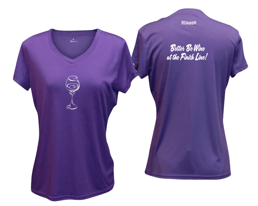 WOMEN'S REFLECTIVE SHORT SLEEVE SHIRT –  BETTER BE WINE - Front & Back – Dark Purple