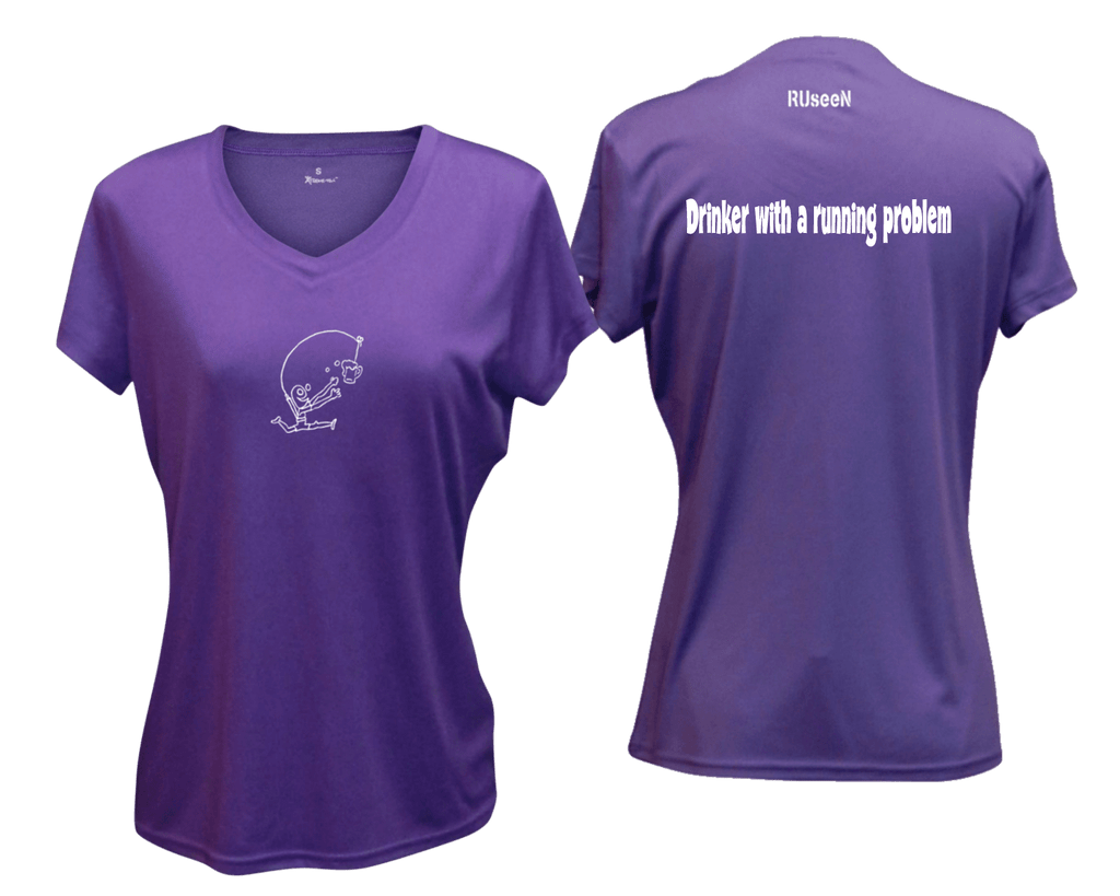 WOMEN'S REFLECTIVE SHORT SLEEVE SHIRT - DRINKER WITH A RUNNING PROBLEM - Front & Back - Dark Purple