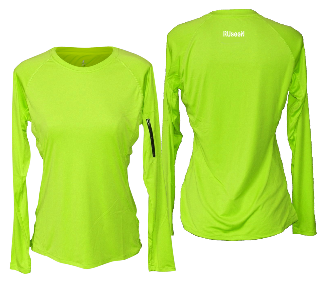 Blank women's long sleeve lime yellow
