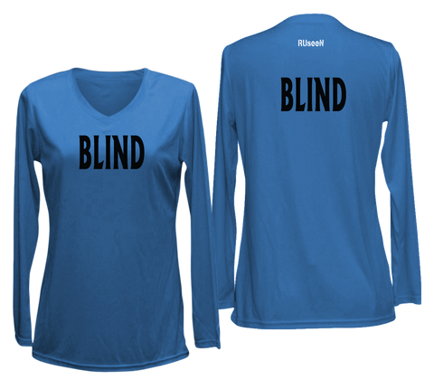 WOMEN'S LONG SLEEVE SHIRT – BLIND - Black Text - Front & Back – Electric Blue