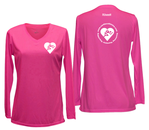 WOMEN'S REFLECTIVE LONG SLEEVE - CARDIAC ATHLETES .ORG - Front & Back - Neon Pink
