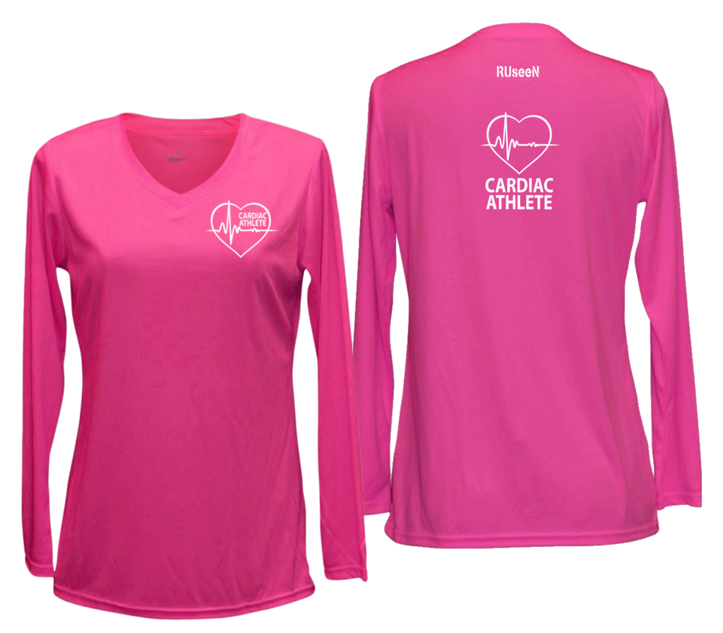 WOMEN'S LONG SLEEVE SHIRT – CARDIAC ATHLETE - Reflective - Front & Back – Neon Pink