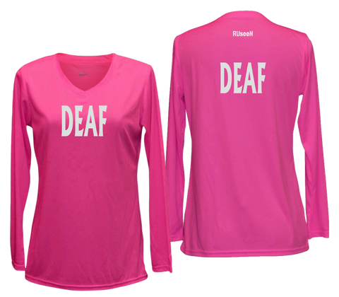 WOMEN'S REFLECTIVE LONG SLEEVE SHIRT – DEAF - Front & Back – Neon Pink