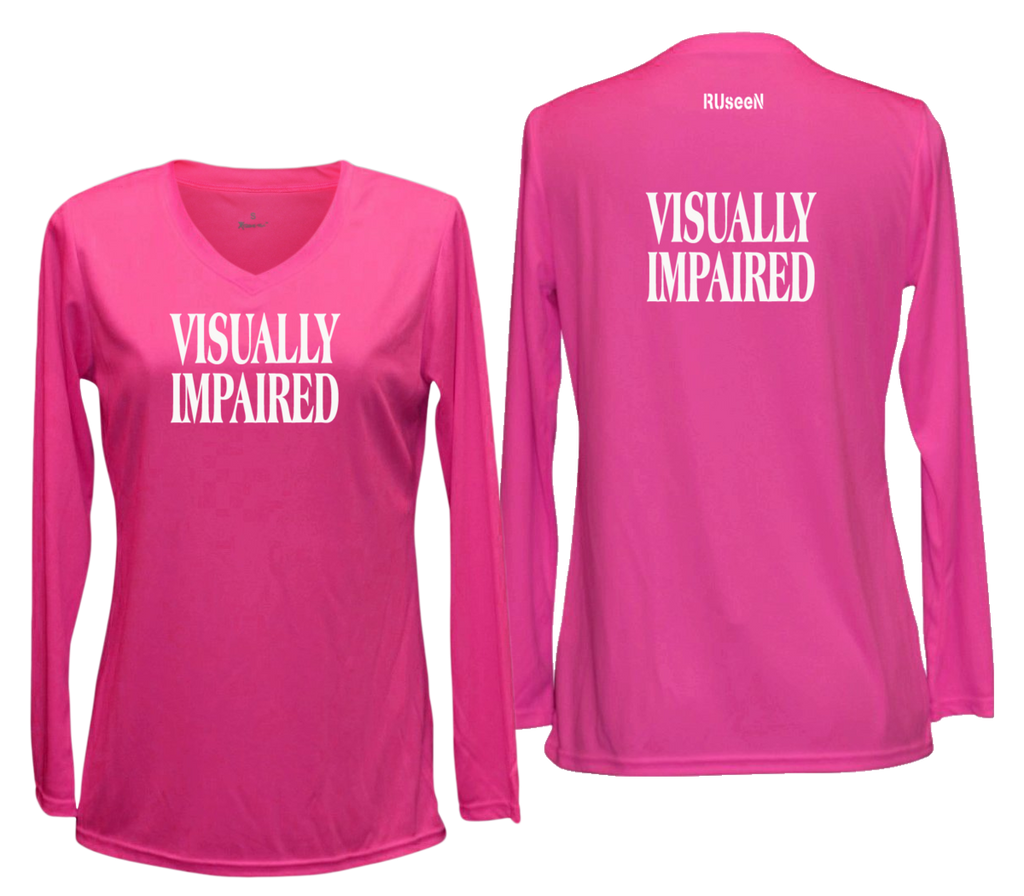 WOMEN'S REFLECTIVE LONG SLEEVE SHIRT – VISUALLY IMPAIRED - Front & Back – Neon Pink