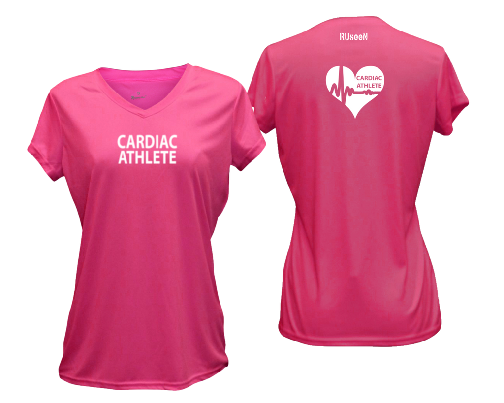 WOMEN'S SHORT SLEEVE SHIRT – CARDIAC ATHLETE - Reflective - Front & Back – Neon Pink
