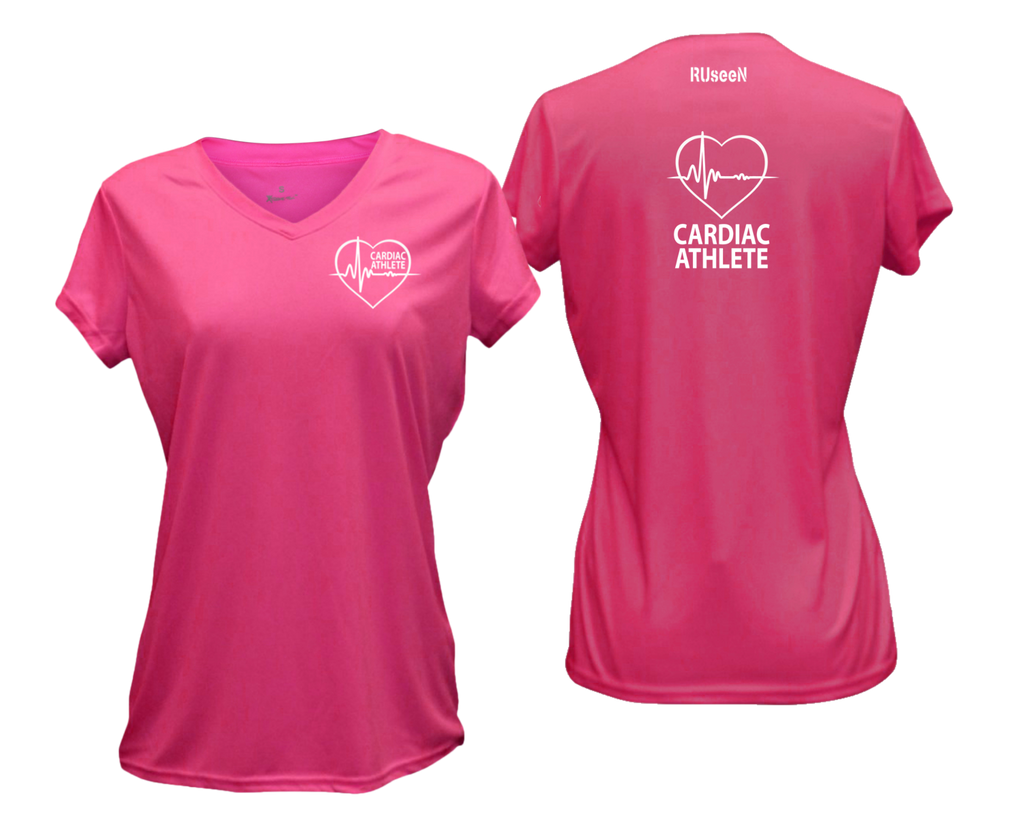 WOMEN'S SHORT SLEEVE SHIRT – CARDIAC ATHLETE - Reflective Text - Front & Back – Neon Pink