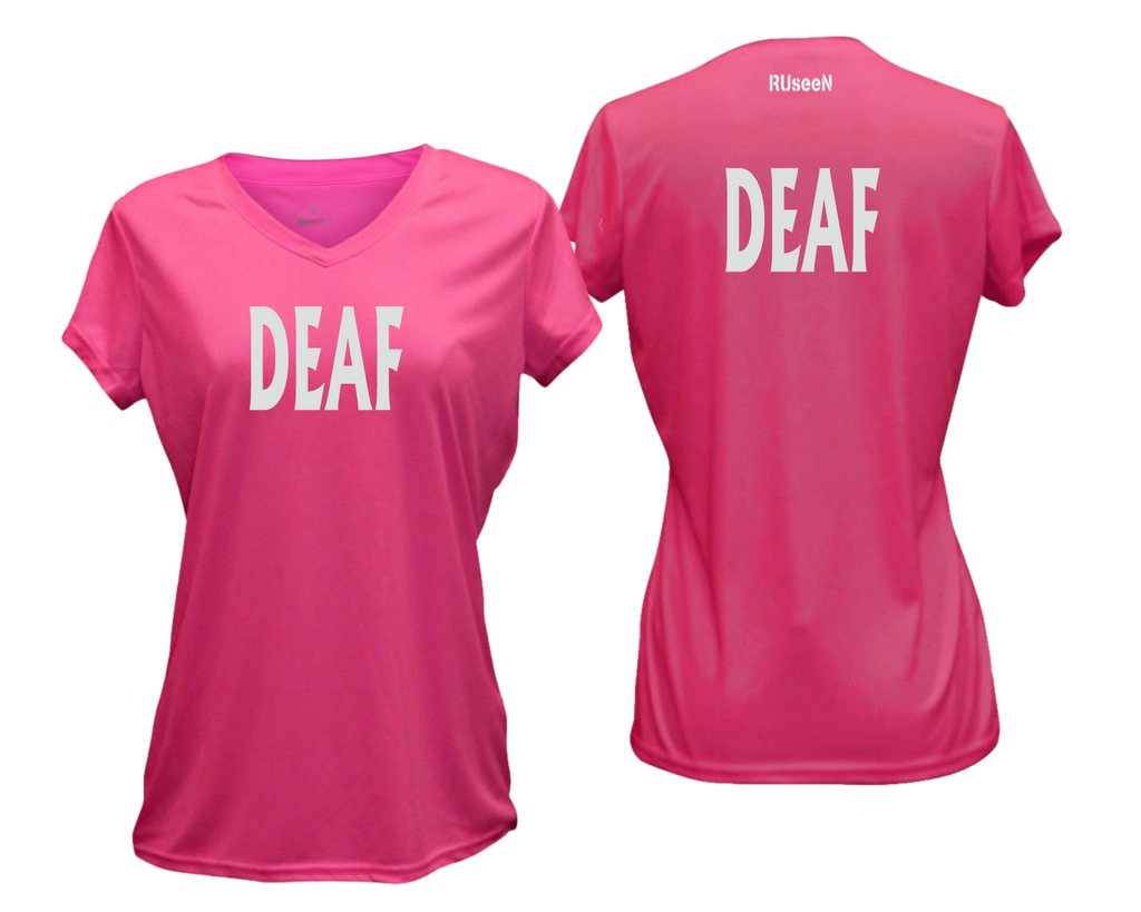 WOMEN'S REFLECTIVE SHORT SLEEVE SHIRT – DEAF - Front & Back – Neon Pink