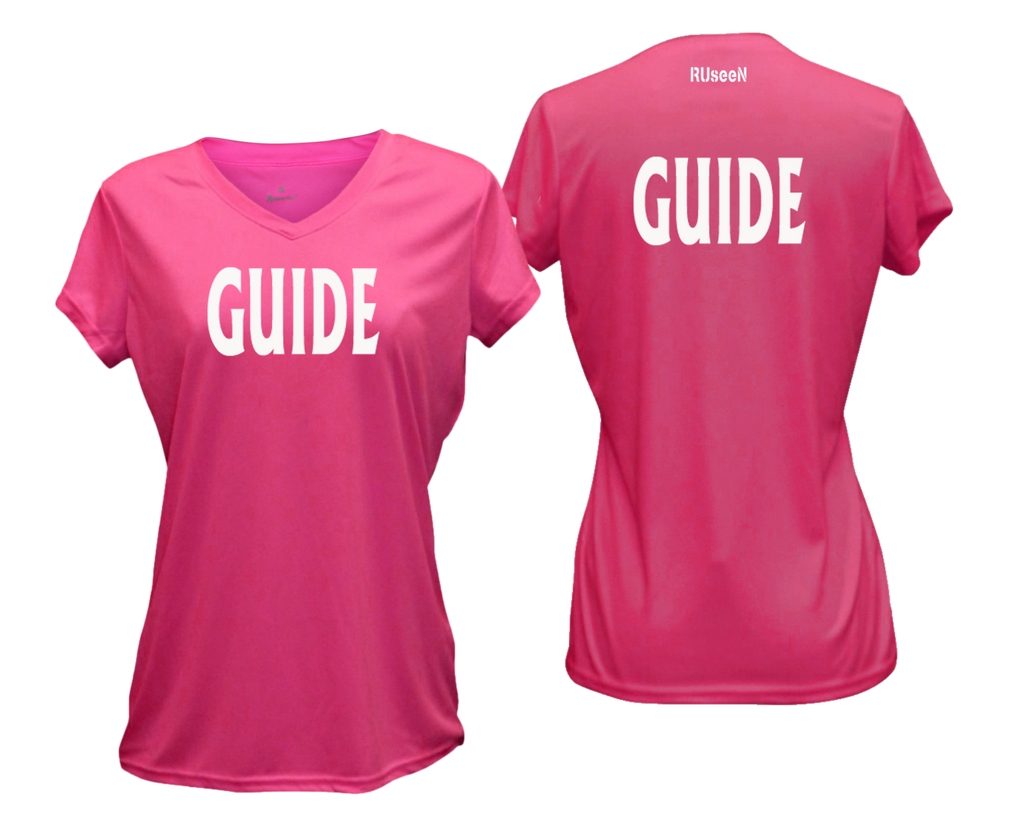 WOMEN'S REFLECTIVE SHORT SLEEVE SHIRT – GUIDE - Front & Back – Neon Pink