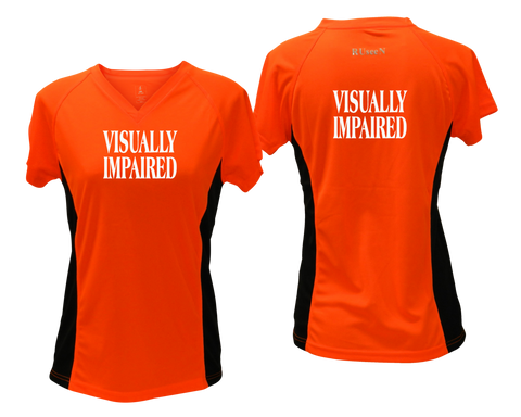 WOMEN'S REFLECTIVE SHORT SLEEVE SHIRT – VISUALLY IMPAIRED - Front & Back – Orange with Black Sides