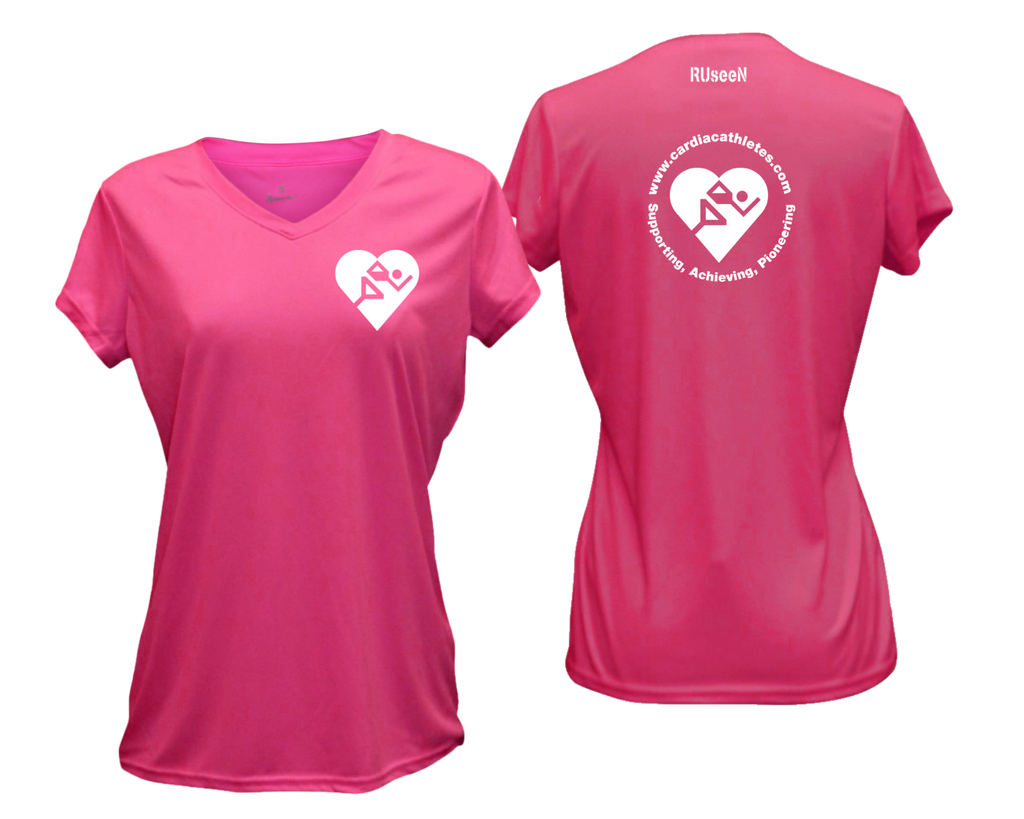 WOMEN'S REFLECTIVE SHORT SLEEVE SHIRT - CARDIAC ATHLETES .ORG - FRONT & BACK - NEON PINK