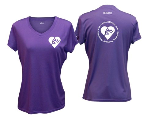 WOMEN'S REFLECTIVE SHORT SLEEVE SHIRT - CARDIAC ATHLETES .ORG - FRONT & BACK - DARK PURPLE