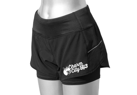 WOMEN'S REFLECTIVE RUNNING SHORTS – CHARM CITY H3 - Front - Black