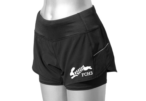 WOMEN'S REFLECTIVE 2-IN-1 SHORTS - FCH3 - BLACK - FRONT - Design 2