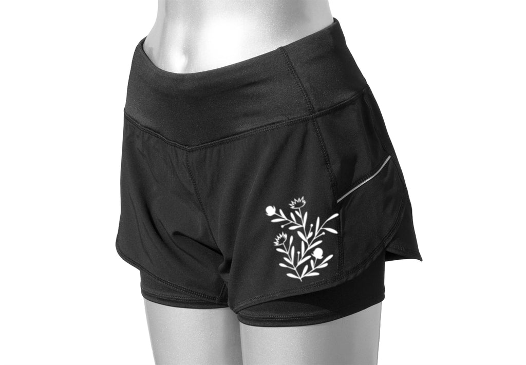 WOMEN'S REFLECTIVE SHORTS - 2-in-1 Shorts - Black - Floral Pattern - Front