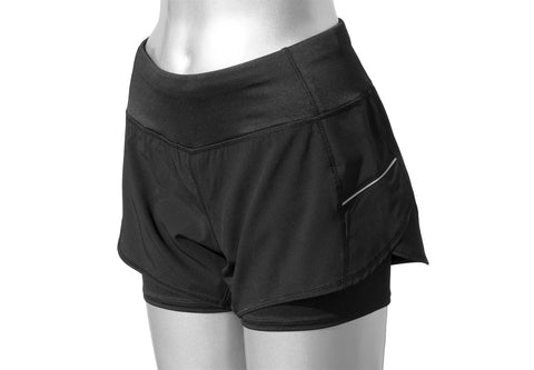 WOMEN'S REFLECTIVE SHORTS - 2-in-1 Shorts – Black - Front