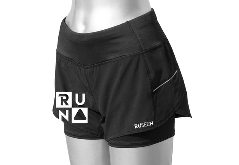 WOMEN'S REFLECTIVE SHORTS - 2-in-1 Shorts - Black - Front