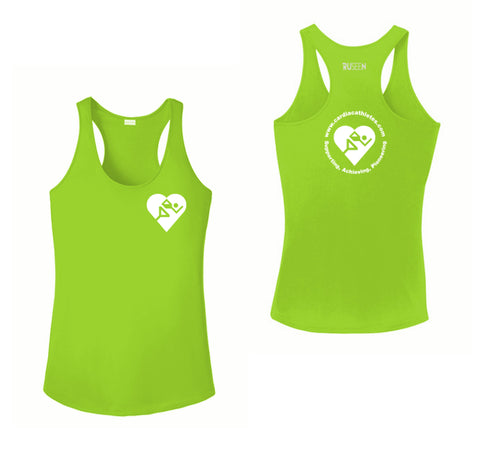WOMEN'S REFLECTIVE TANK TOP - CARDIAC ATHLETES .ORG - FRONT & BACK - Lime Green