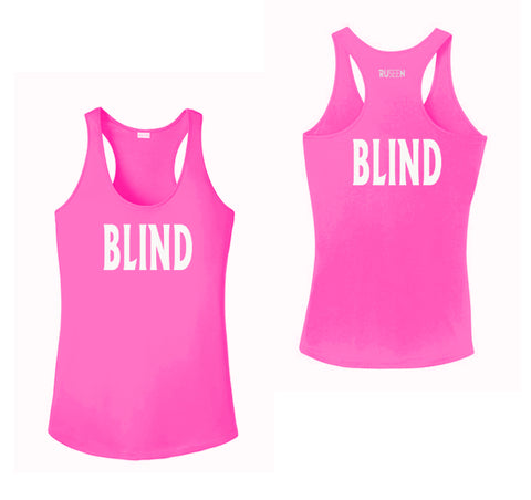 WOMEN'S REFLECTIVE TANK TOP – BLIND - Front & Back – Neon Pink