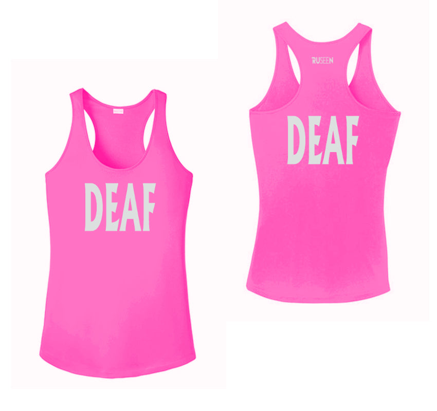 WOMEN'S REFLECTIVE TANK TOP – DEAF - Front & Back – Neon Pink