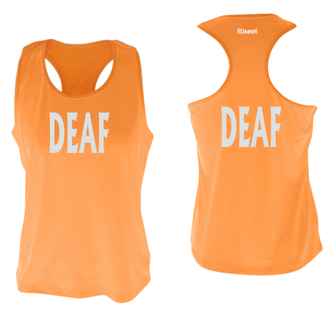 WOMEN'S REFLECTIVE TANK TOP – DEAF - Front & Back – Orange