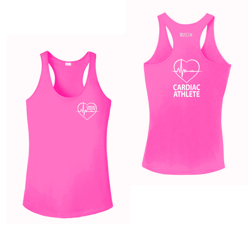 WOMEN'S TANK TOP – CARDIAC ATHLETE - Reflective - Front & Back – Neon Pink