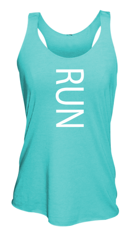 WOMEN'S REFLECTIVE TANK TOP SHIRT –  RUN - Front - Aquamarine