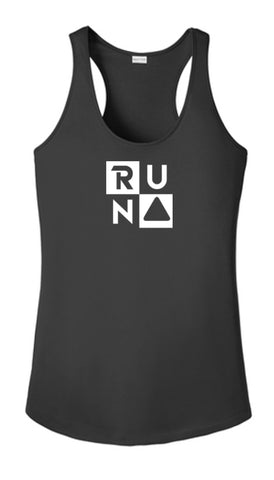 Women's Reflective Tank Top - RUN Squared - Black Front
