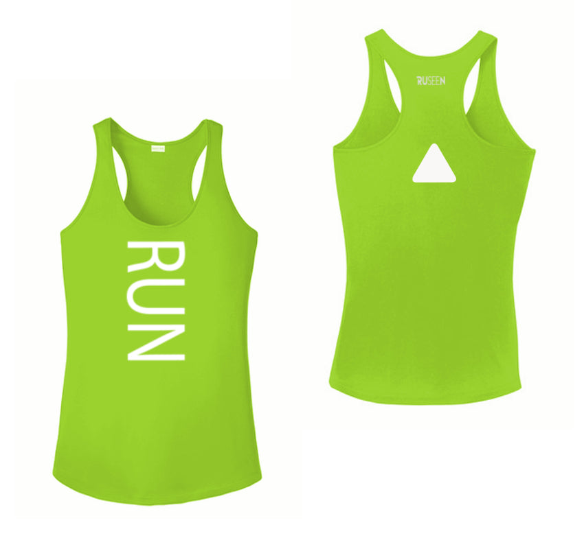Women's Reflective Tank Top - RUN - Lime Green