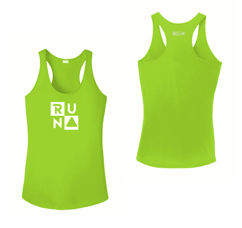Women's Reflective Tank Top - RUN Squared - Lime Green