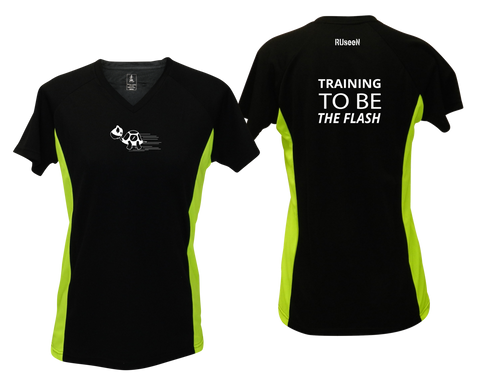 WOMEN'S REFLECTIVE SHORT SLEEVE SHIRT –  TRAINING TO BE THE FLASH - Front & Back – Black with Lime Sides