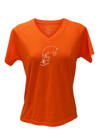 WOMEN'S REFLECTIVE SHORT SLEEVE SHIRT –  H3 DRINKER - Front –  Orange