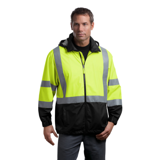 Class 3 Lime Yellow & Black Reflective Windbreaker Jacket - Front modeled
