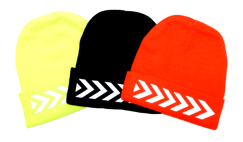 UNISEX REFLECTIVE KNIT BEANIE - CHEVRON - Lime Yellow, Black & Orange