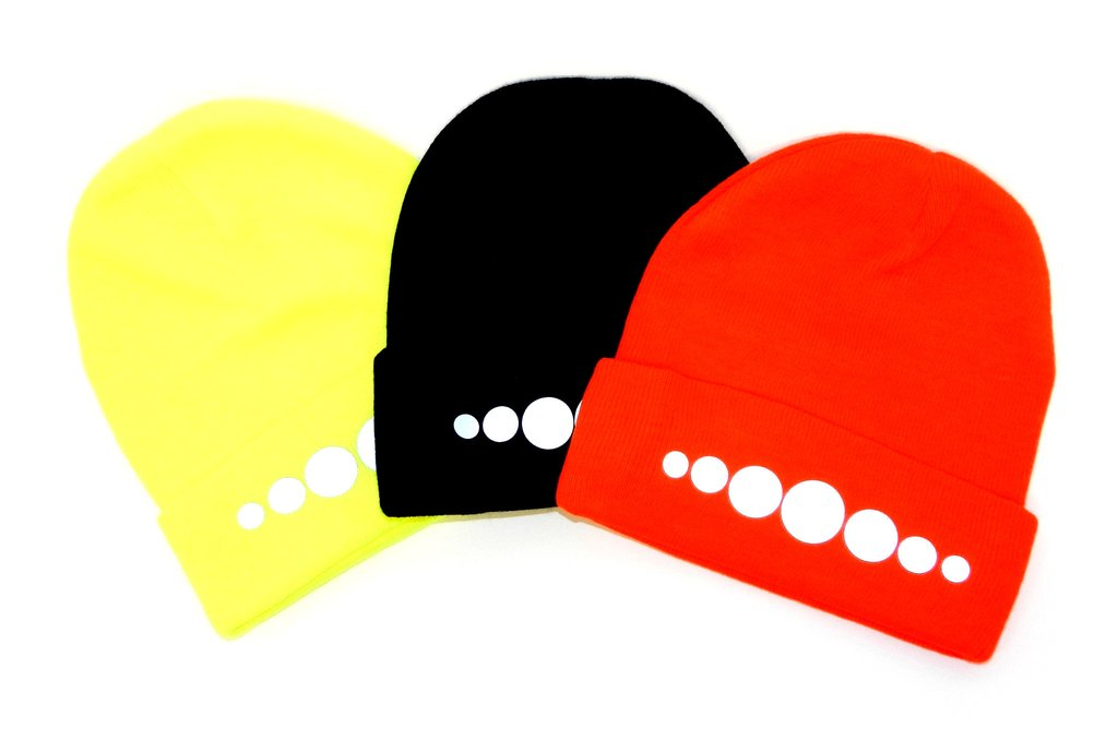 UNISEX REFLECTIVE KNIT BEANIE - CIRCLES - Lime Yellow, Black & Orange