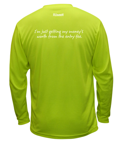 UNISEX REFLECTIVE LONG SLEEVE SHIRT – GETTING MY MONEY'S WORTH – Back - Lime Yellow