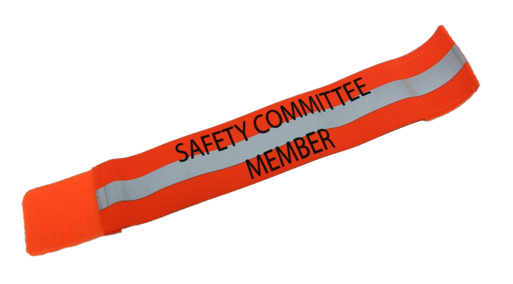 UNISEX REFLECTIVE ELASTIC ARM BAND –  SAFETY COMMITTEE MEMBER – Orange